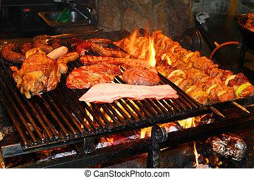 grillé, délicieux, barbecue, viande