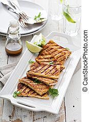 grillé, plaque, tofu, frit