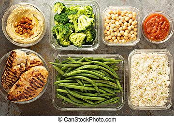 grillé, riz, poulet, cuit, préparation, repas