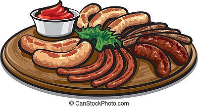 grillé, sauce, saucisses
