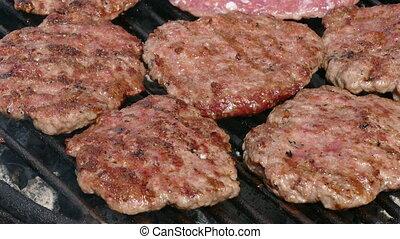 grillade, hamburgers
