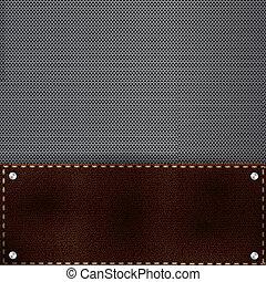 grille, métal, fond, brun, cuir