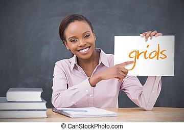 grilles, tenue, projection, prof, page, heureux