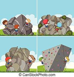 grimper ensemble, enfants, rocher
