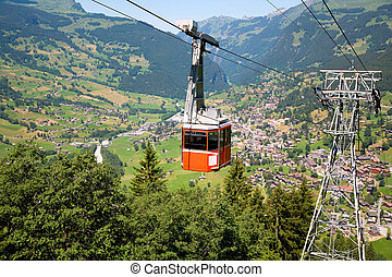 grindelwald, funiculaire, canton, suisse, berne