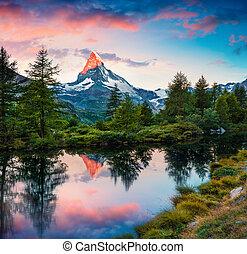 grindjisee, lac, levers de soleil, été, coloré