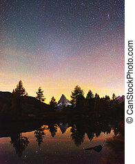 grindjisee, matterhorn, vue, lac, incroyable, nuit, cervino, pic