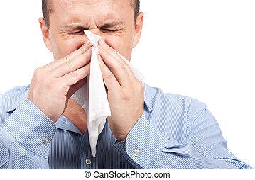 grippe, jeune homme