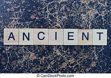 gris, ancien, mot, texte, bois, lettres, petit