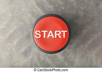 gris, bouton, brouillé, début, aérien, fond, sur, rouges