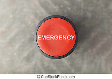 gris, bouton, 'emergency', brouillé, aérien, fond, poussée, sur, rouges