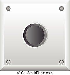 gris, bouton, vecteur, illustration