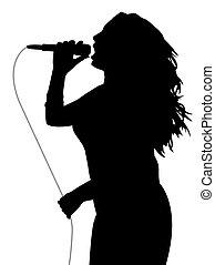 gris, chanteur, femme, câble, microphone, tenue