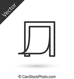 gris, chouchou, icône, vecteur, porte, isolé, ligne, blanc, arrière-plan.