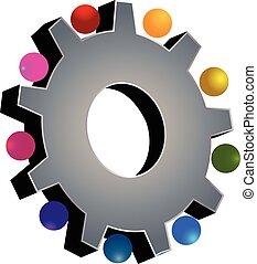 gris, collaboration, engrenage, logo