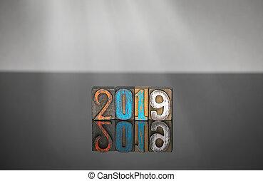 gris, coloré, bois, figures, fond, 2019