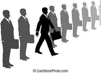 gris, costumes, initiative, étapes, ligne, dehors, homme
