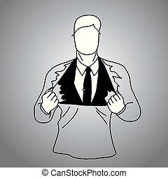 gris, croquis, superhero, business, griffonnage, intérieur, lignes, isolé, illustration, main, t-shirt, arrière-plan., vecteur, costume noir, homme affaires, dessiné, concept.