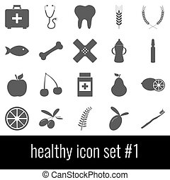 gris, ensemble, icônes, healthy., arrière-plan., blanc, 1., icône
