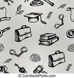 gris, ensemble, sketch., justice, symboles, arrière-plan., vecteur, droit & loi, ou, illustration.