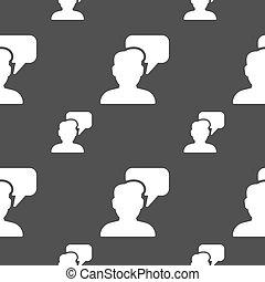gris, gens, modèle, signe., seamless, conversation, vecteur, arrière-plan., icône