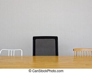 gris, groupe, salle, chaises, lumière, mur, bois, table, réunion