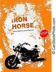 gris, image., illustration, vecteur, motocyclette, fond, orange