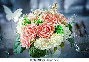 gris, juste, bouquet, mariés, arrière plan flou