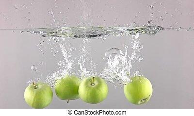 gris, lent, quatre, eau, contre, bas, fond, pommes vertes, automne, super, mouvement
