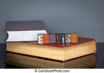 gris, lettres, coloré, bois, fond, anglaise, mot
