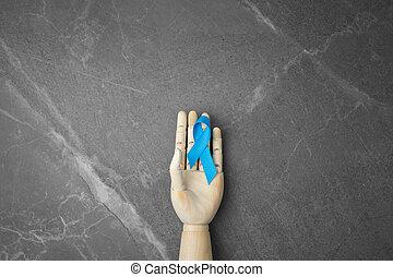 gris, main, bois, marbre, arrière-plan.