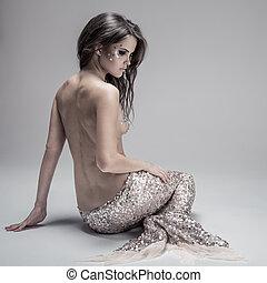 gris, mode, arrière-plan., prise vue., mermaid., fantasme, studio