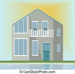 gris, moderne, house., illustration, vecteur, coucher soleil, architecture, fond, façade