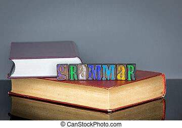 gris, mot, coloré, bois, grammaire, fond, lettres