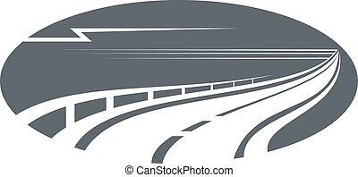 gris, ou, autoroute, chemin, route, icône