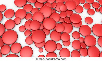 gris, ovales, tridimensionnel, arrière-plan., rendre, rouges, 3d