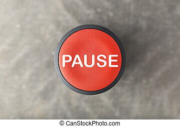 gris, pause, bouton, brouillé, aérien, fond, sur, rouges
