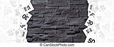 gris, pierre, étiquettes, mur, texture, escompte