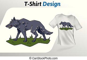 gris, promenade haut, isolé, t-shirt, arrière-plan., print., vecteur, loup, conception, blanc, herbe, template., railler, gabarit