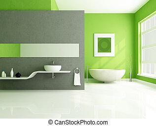 gris, salle bains, vert, contemporain