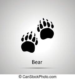 gris, silhouette, estampiller, simple, ours, pattes, étapes, noir