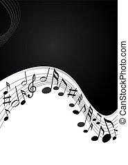 gris, solide, notes, arrière-plan noir, musique
