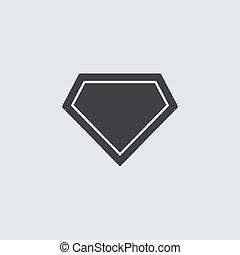 gris, superhero, illustration, arrière-plan., vecteur, noir, logo, icône