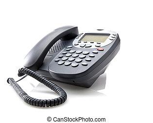 gris, téléphone bureau, isolé, fond, blanc