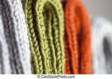 gris, texture, tricoté, orange, vert, laine