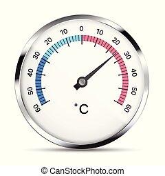 gris, thermomètre, métal, isolé, illustration, main, numbers., réaliste, vecteur, blanc, blanc, réflexions, circulaire