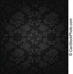 gris, tissu, texture, fond foncé, fleurs, velours côtelé