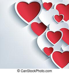 gris, valentines, fond, cœurs, élégant, jour, rouges, 3d