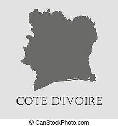 gris, vecteur, carte, -, ivoire, illustration, cote