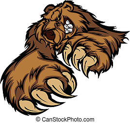 grizzly, corps, mascotte, pattes